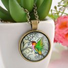 WOMEN'S Vintage Hummingbird Cabochon Bronze Glass Chain Pendant Necklace Gifts-i