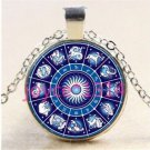 WOMEN'S Zodiac Compass Cabochon Tibetan silver Glass Chain Pendant Necklace-J