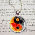 ying yang fire WOMEN'S Cabochon Tibetan silver Glass Chain Pendant Necklace-P