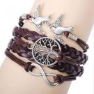 WOMEN'S INFINITY BRACELET DOVES TREE OF LIFE  MULTI LAYERED BRAIDED LEATHER-S