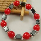 NEW fashion RED GREY charm bead spacing haematite Stretch Bracelet hot GIFT-O