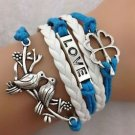 WOMEN'S HOT FASHION Retro Infinity LOVE Pigeon Flower Leather Charm Bracelet-ii