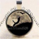 WOMEN'S Cat Bat Moon Cabochon Photo Glass Tibet Silver Chain Pendant Necklace-J