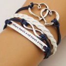 DOUBLE HEART NEW HOT FASHION Infinity Love Anchor Leather Cute Charm Bracelet-O