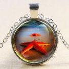 Vintage red Starfish Cabochon Tibetan silver Glass Chain Pendant Necklace-J
