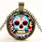 FASHION Vintage new skull Cabochon Photo Bronze Glass Chain Pendant Necklace -U