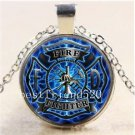 Firefighter Fire Fighter Cabochon Glass Tibet Silver Chain Pendant Necklace-Q