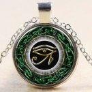 Egyptian Eye of Horus Ra Udjat Glass Art Pendant Chain Amulet Pagan Necklace-O