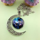 Stylish Women Constellation Crescent Moon Glass Cabochon Pendant Necklace - R
