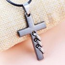 NEW CHRISTIAN European FASHION TRIPLE LOOP Bible VERSES Cross Pendant Necklace-O