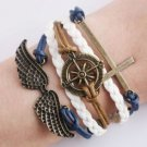 COMPASS Infinity Love Wings Anchor Leather Cute Charm Bracelet Bronze-Q