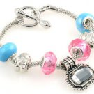 1pc WOMENS handmade silver metal charm cuff bangle bracelet fit European beads-C