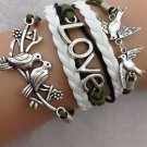 DOUBLE KISSING DOVES Infinity LOVE Peace FASHION Leather Charm Bracelet GIFT -O