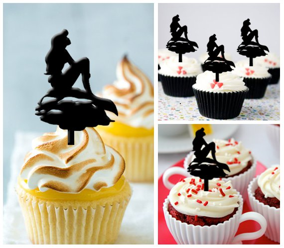 Cp51 cupcake toppers little mermaid Package : 10 pcs