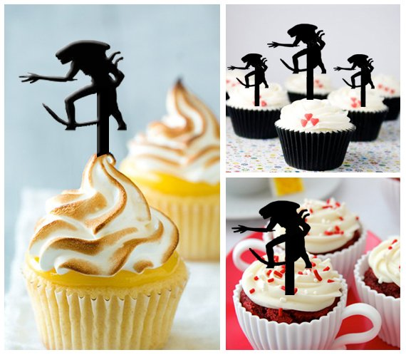 Cp167 cupcake toppers Alien Package : 10 pcs