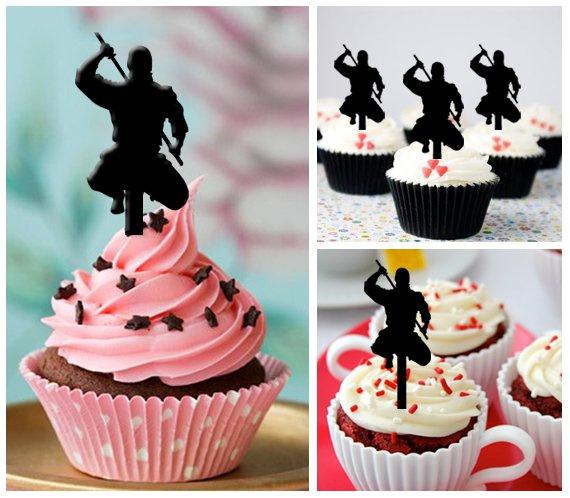 Cp200 cupcake toppers ninja japanese Package : 10 pcs