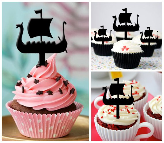 Cp220 cupcake toppers viking boats Package : 10 pcs