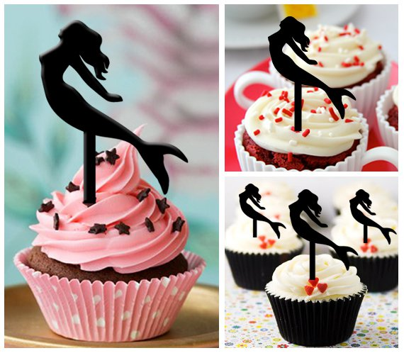 Cp254 cupcake toppers the little mermaid Package : 10 pcs