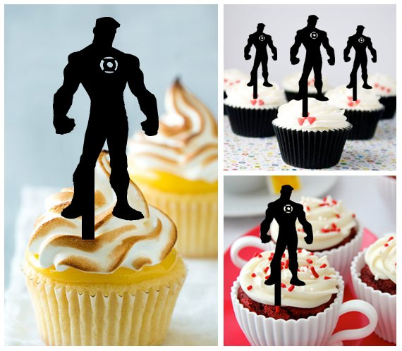 Cp274 cupcake toppers green lantern Package : 10 pcs