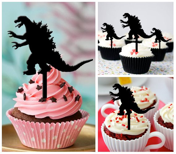 Cp294 cupcake toppers godzilla Package : 10 pcs