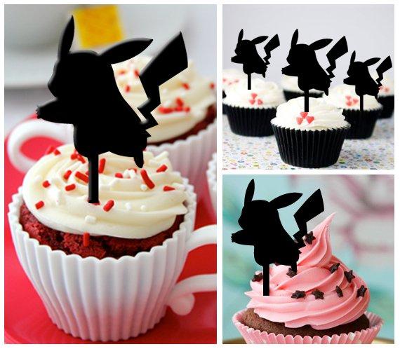 Cp319 cupcake toppers pokemon pikachu logo Package : 10 pcs