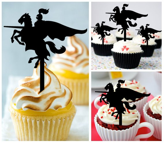 Cp445 cupcake toppers Knight on Horse Package : 10 pcs