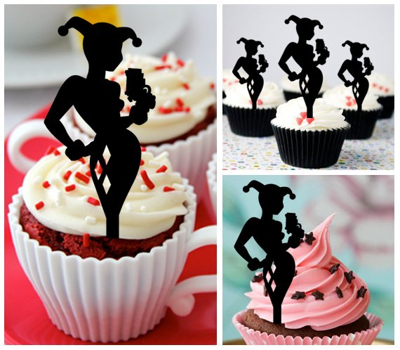 Cp453 cupcake toppers Harley Quinn Package : 10 pcs