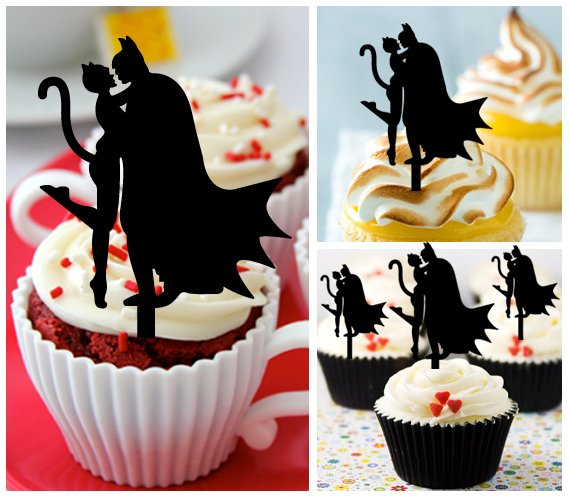 Cp459 cupcake toppers batman and catwoman kiss Package : 10 pcs