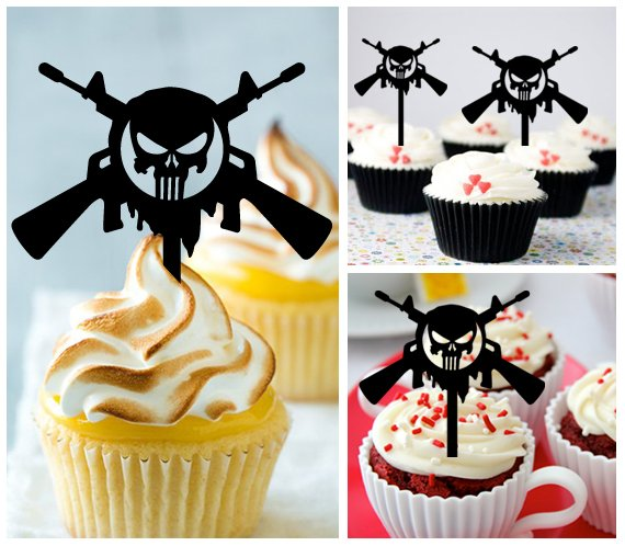 Gu1 cupcake toppers Punisher Gun Package : 10 pcs