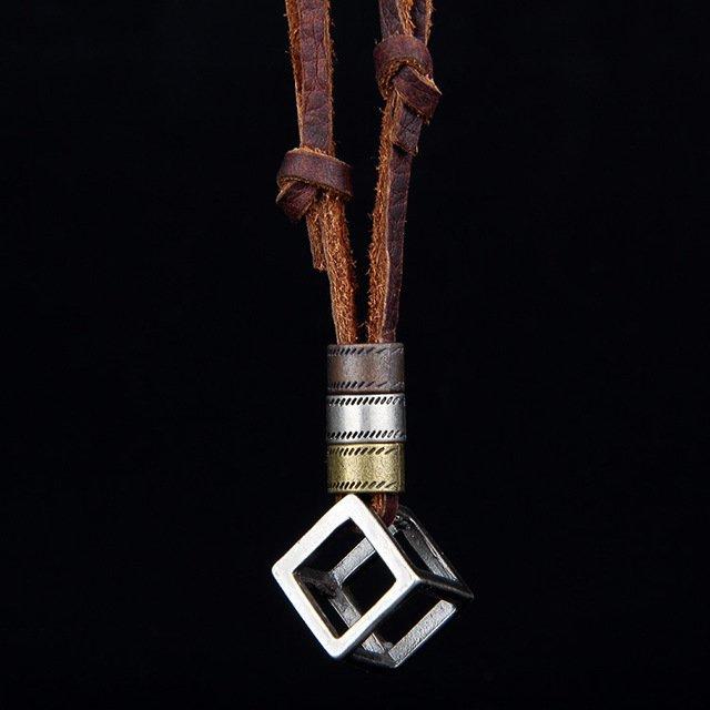 Cube Surf Necklace Boho Leather Pendant Ethnic Jewelry