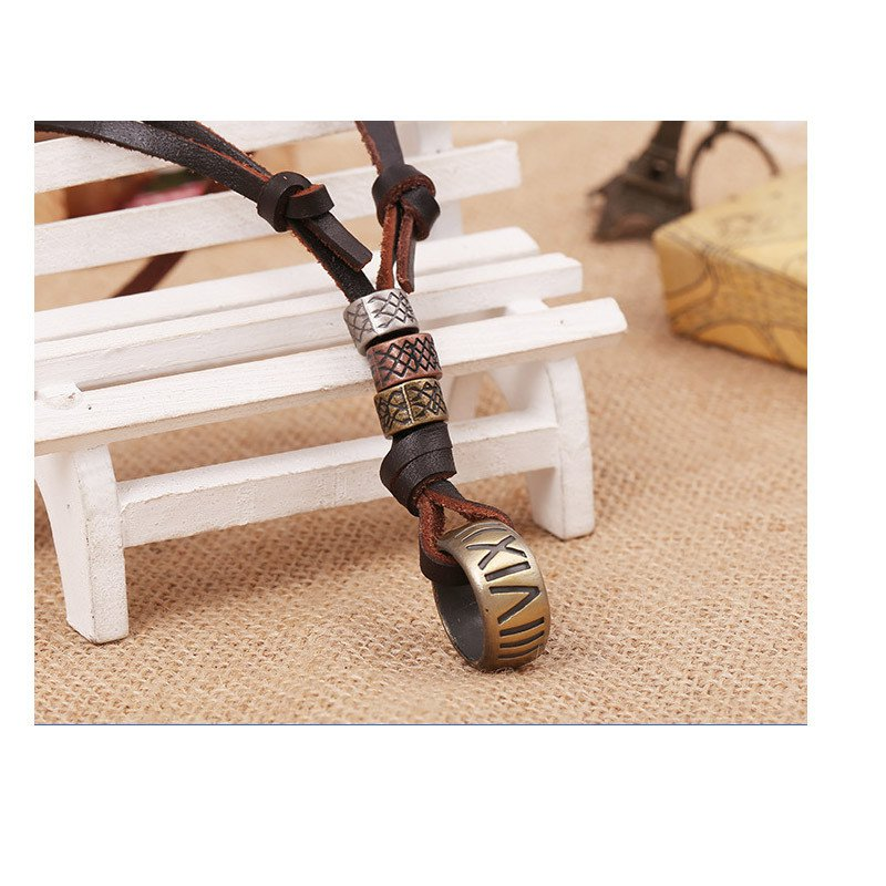Ring Surf Necklace Boho Leather Pendant Ethnic Jewelry