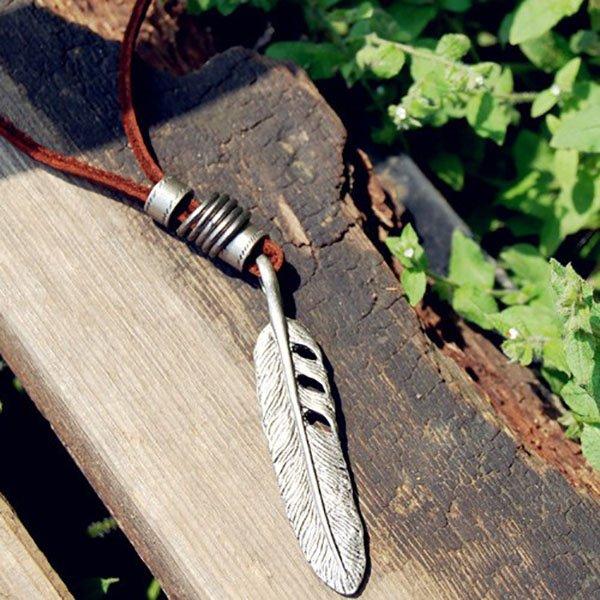 Feather Surf Necklace Boho Leather Pendant Ethnic Jewelry