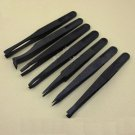 7Pcs Anti-static Tool Plastic Tweezer Heat Resistant Straight Bend New