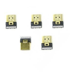 5 Pcs HDMI Male Gold Plate 19Pin Plug Soldering Wire Type Connectors