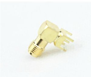 10pcs SMA female nut bulkhead right angle PCB deck RF connector