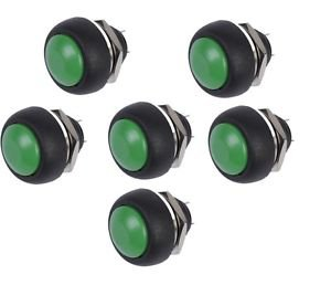 10PCS 12mm Waterproof Momentary ON/OFF Push Button Mini Round Switch Green