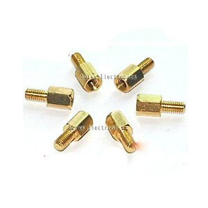10pcs New Brass Hex Stand-Off Pillars Male to Female 6mm + 6mm M3 Good Quality