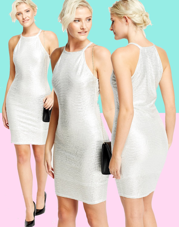 Silver Metallic Bodycon Dress Size Large UK 10-12 � FREE Shipping Within Europe �