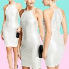 Silver Metallic Bodycon Dress Size Large UK 10-12 ♡ FREE Shipping Within Europe ♡