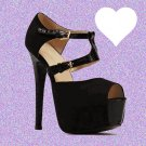 Textured Front Strap Black Suedette Heels UK 6 ♡ FREE Worldwide Shipping ♡