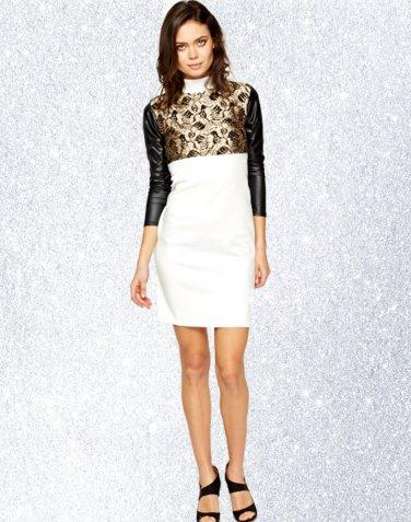 White & Gold High Neck Metallic Panel Bodycon Dress M-L UK 10-12 � FREE Worldwide Shipping �