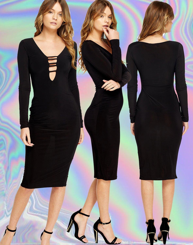 Bodycon Black Long Sleeve Plunge Dress Size Large UK 10-12 � FREE Worldwide Shipping �