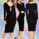 Bodycon Black Long Sleeve Plunge Dress Size Large UK 10-12 ♡ FREE Worldwide Shipping ♡