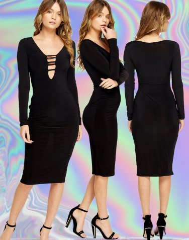 Bodycon Black Long Sleeve Plunge Dress Size Large UK 10-12 � FREE Worldwide Shipping �