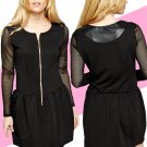 Perforated Sleeve Black Skater Dress UK Large 10-12  ♡ FREE Worldwide Shipping ♡