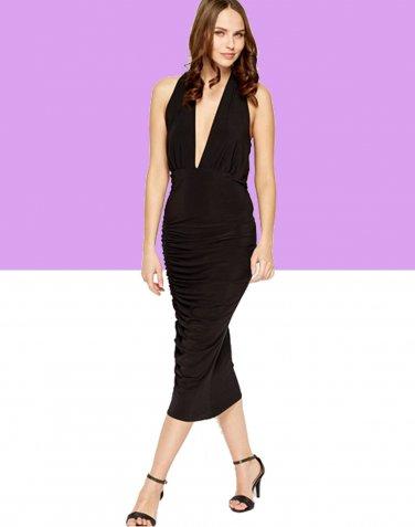 Ruched Black Plunge Midi Dress (S-M) UK 8-10 � FREE Worldwide Shipping �