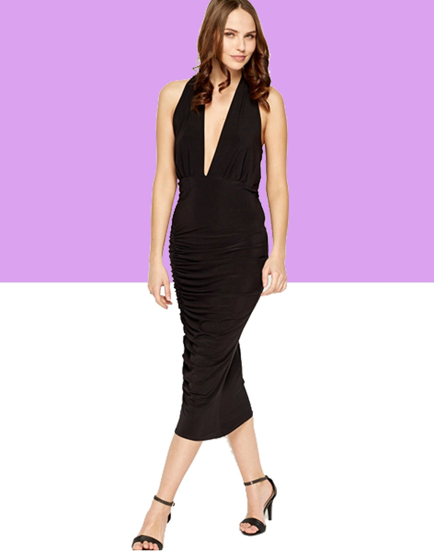 Ruched Black Plunge Midi Dress (M-L) UK 10-12 � FREE Worldwide Shipping �