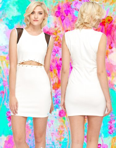 Cut Out Criss Cross Chain Waist White Dress Large UK 10-12 � FREE Worldwide Shipping �