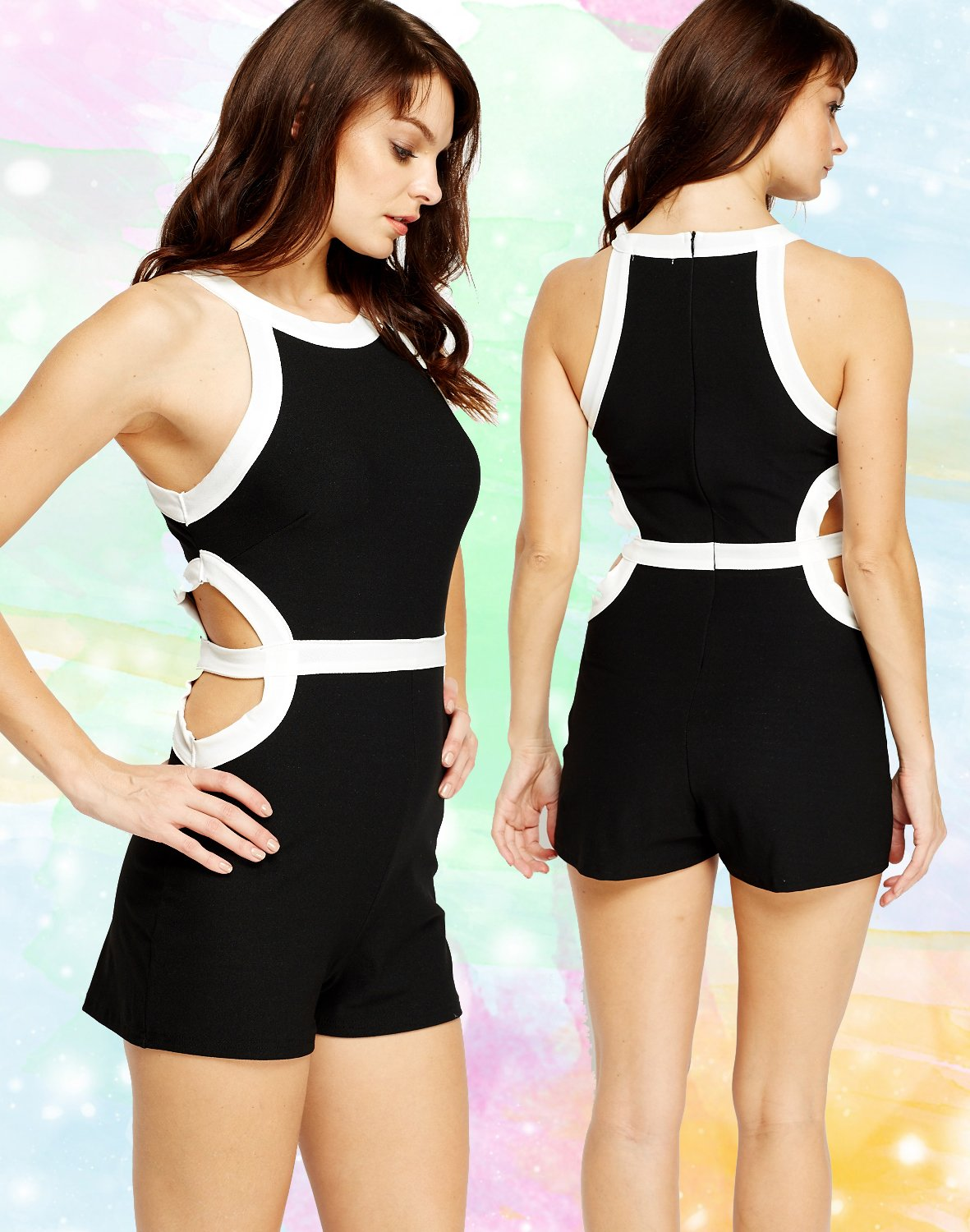 Cut Out Black & White Block Playsuit Large UK 12 � FREE Worldwide Shipping �