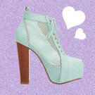 Mesh Mint Insert Faux Leather Heeled Boots UK 4 ♡ FREE Worldwide Shipping ♡